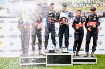 Sebastien Ogier (FRA), Dani Sordo (ESP) and Thierry Neuville (BEL) celebrate the podium during the FIA World Rally Championship 2016 Germany in Trier, Germany on August 21, 2016 // Jaanus Ree/Red Bull Content Pool // For more content, pictures and videos like this please go to www.redbullcontentpool.com.